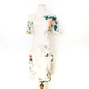 Zara Woman Butterfly Garden Roses Vine Dress